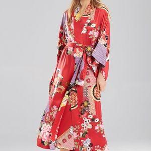 f25153d484 Natori Mikado Red Wrap Print Robe Size Small